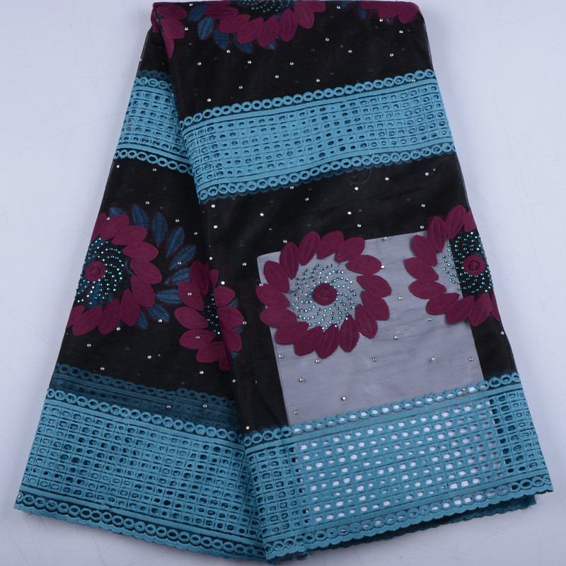 New Arrival African Lace Fabric High Quality French Milk Silk Lace Fabric With Rhinestones Cotton Lace