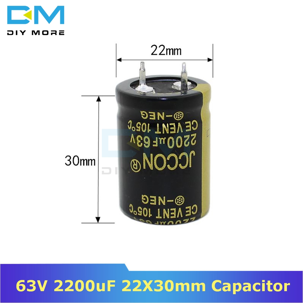 63V 2200uF 22X30mm 22X30 Aluminum Electrolytic Capacitor High Frequency Low Impedance Through Hole Capacitor 22*30mm Diymore