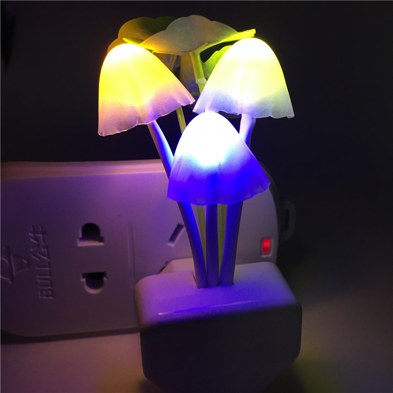 New Romantic Colorful Led Night Wall Light Mushroom Dream