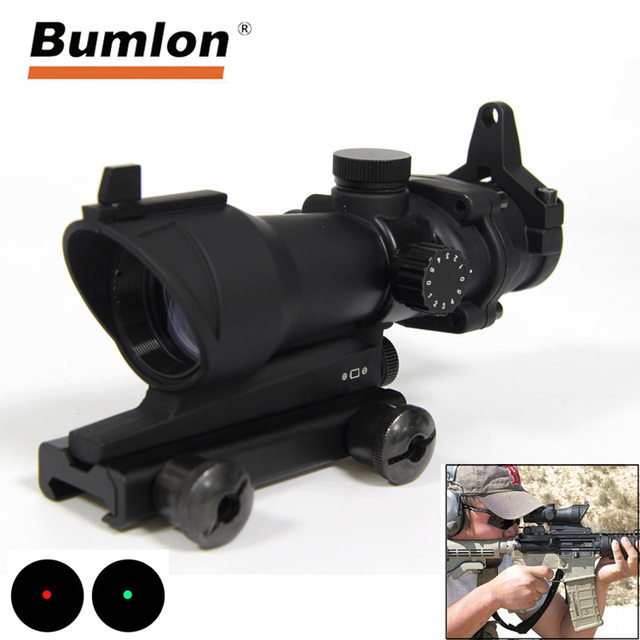 Bumlon ACOG 1X32 Red Dot Sight Optical Rifle Scopes ACOG Red Dot Scope Hunting Scopes  With 20mm Mount for Airsoft Gun
