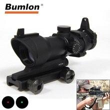 Bumlon ACOG mira de Rifle óptica de punto rojo, 1X32, ACOG, punto rojo, mira para caza con montaje de 20mm para pistola Airsoft