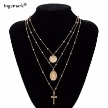 Фотография Vintage 3 Layers Sequins Chain Cross Crucifix Pendant Multilayer Choker Necklace Female Statement Jewelry Christmas gift