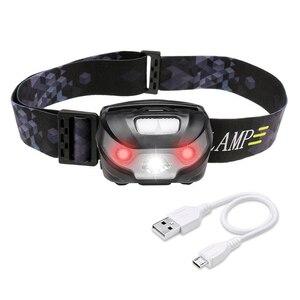 USB charging headlight LED headlight with red warning function outdoor waterproof running headlight