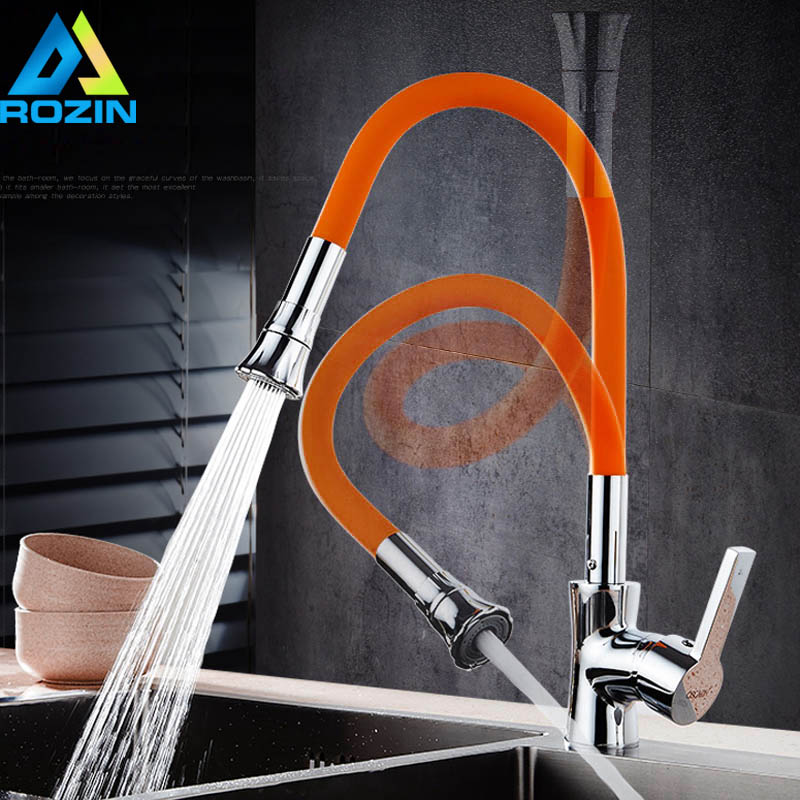 Orange Silica Gel Nose Kitchen Faucet Chrome Kitchen Sink Tap Single Lever Hot and Cold Water Any Direction Rotate Kitchen Crane