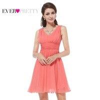 Women Clothing HE03909 Ever Pretty 2016 Elegant Sleeveless Red Blue Coral Black Purple V Neck Short