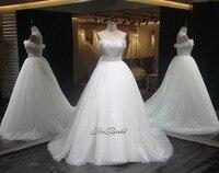 New Fashion 2018 White Wedding Dresses Sweetheart Neckline Luxury Royal Train Tulle Dress Bride Vestido De