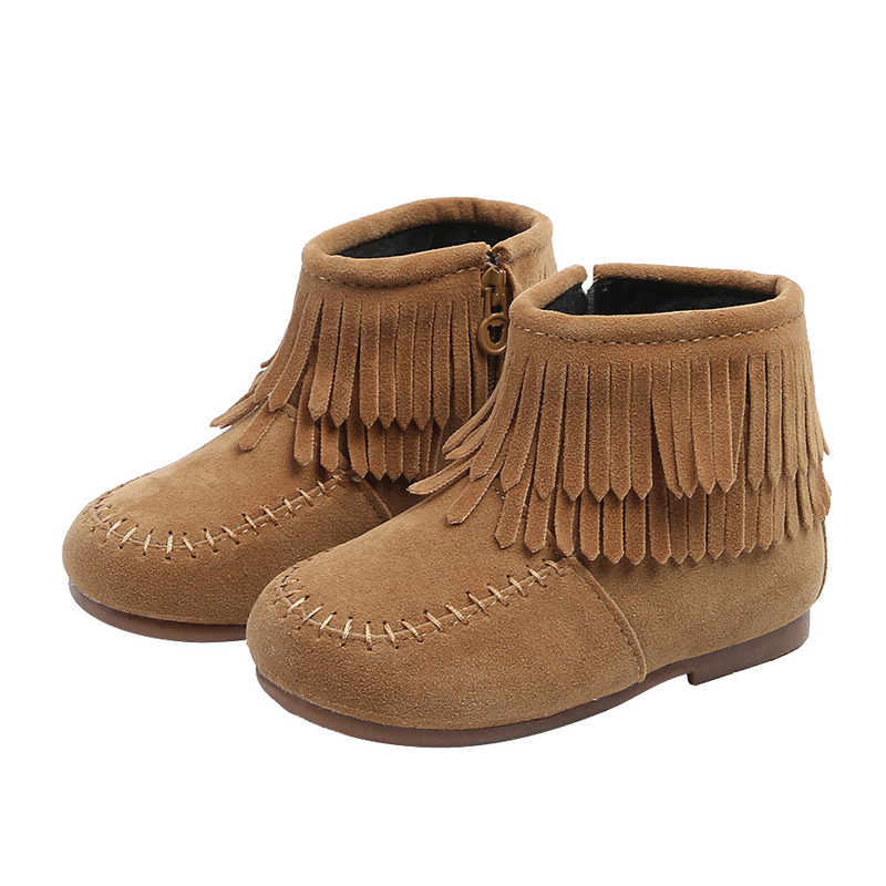 JGSHOWKITO Girls Ankle Boots Princess Sweet Red Pink Black Flock Fabric Warm Rubber Boots For Toddler Kids Cotton-padded Tassels