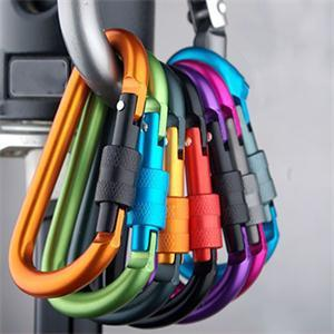 5pcs Aluminum Alloy Carabiner Type D 8mm Quickdraw Outdoor Climbing Safety Hook Screw Lock Backpack Buckle Hanging Padlock Tools