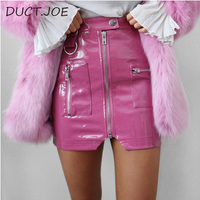 DUCTJOE New Faux Leather Skirts For Women Zipper Pocket Skinny Mini Latex 3 Color High Waist Skirt Sexy Fashion PU Skirts Pencil