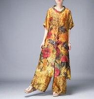 2019 Summer Fashion New Ladies Silk Suit Women Casual Slim Wide Leg Pants Two piece One Size Suit