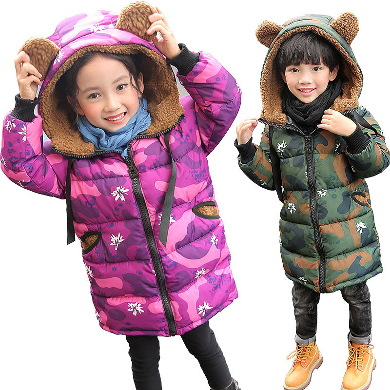 2017 Children New Brand Girls baCotton Coat Winter Fashion Sleeve Hooded Camouflage Jacket Casual Warming Zipper Outwear Clothes куртка женская insight warming coat midnight