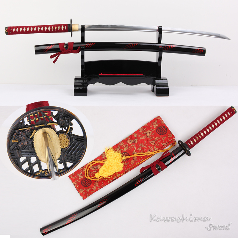 Handmade Japanese Katana Real Sword 1060 High Carbon Steel Full Tang Sharpness Ready For Cutting Mat Straw-Red Line Scabbard