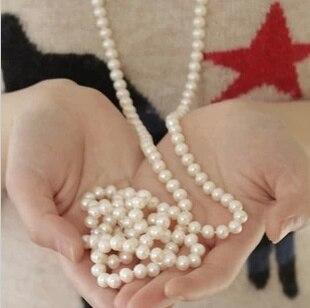 Livraison gratuite 2014 nouveau mode femmes bijoux, collier de perles de perles, Long chandail chaîne collier pour femmes robe accessoires JJ139