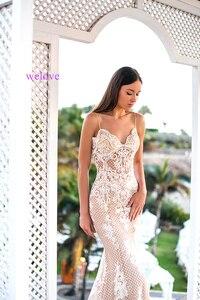 Image 3 - Женское свадебное платье русалка, кружевное платье с длинным шлейфом и аппликацией по индивидуальному заказу, 2020
