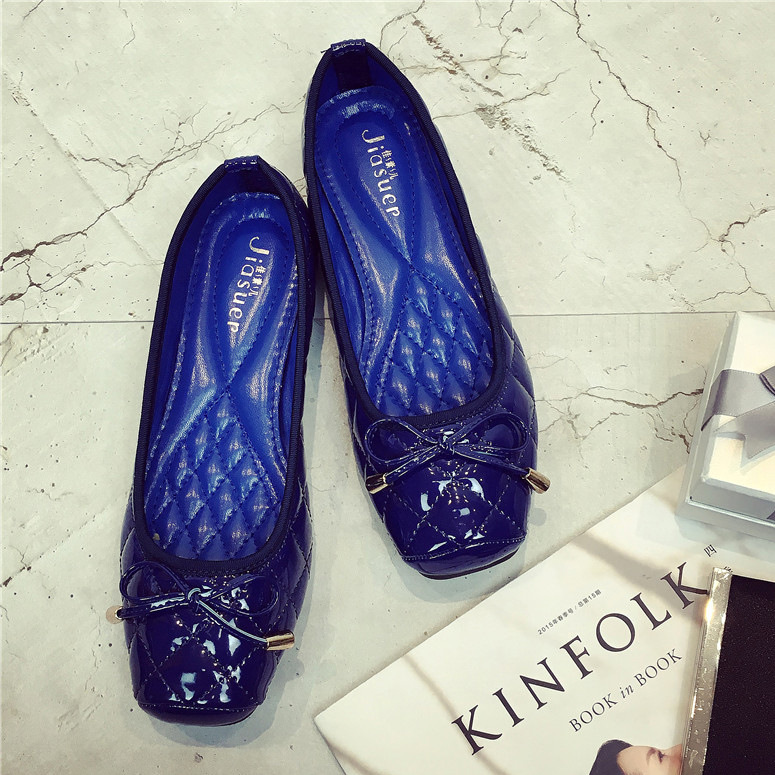 New Women Flats Shoes bowknot Square Toe Patent Leather Fashion High Quality Flat Moccasins Ladies For Office Boat Shoes