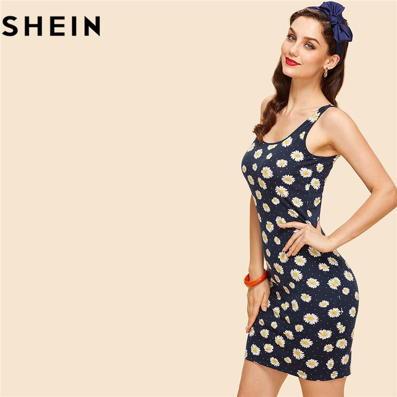 SHEIN Woman Navy Color Sleeveless Floral Vintage Bodycon Mini Dresses 2018 Summer Casual Split Daisy Print New Tank Short Dress