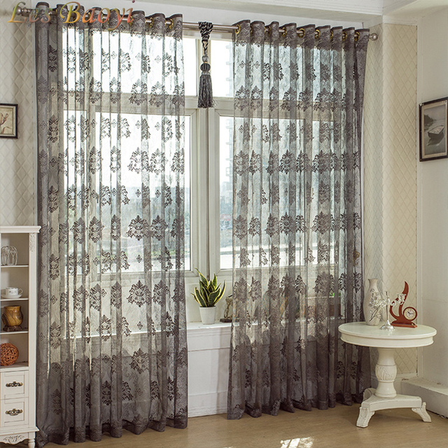 grey curtains for bedroom. Les Baoyi Elegant Embroidered Tulle Curtains For Living Room Sheer Grey  Curtain Bedroom European Damask Flower