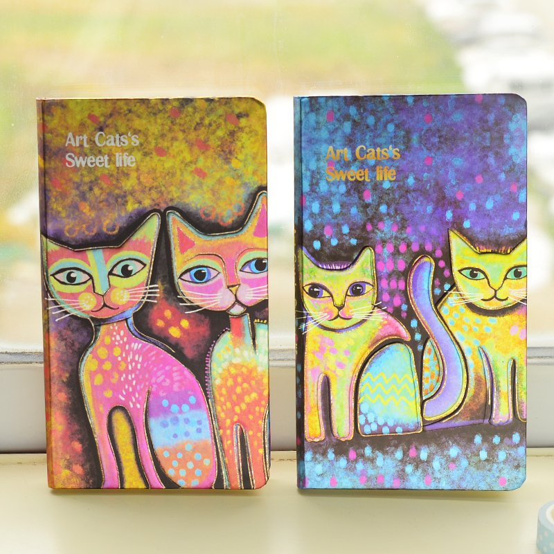 South Korea's cartoon cat rounded corners hand-painted creative stationery notebook diary note book