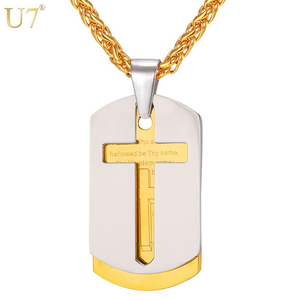 U7 Kreuz Halsketten Anhänger Christian Schmuck Bibel Lords Prayer Erkennungsmarken Gold Farbe Edelstahl Weihnachtsgeschenk Für Männer P682