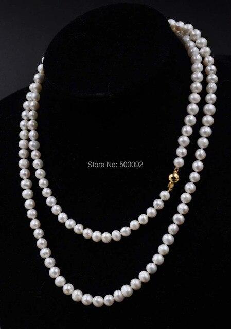 95 cm de largo 7mm de agua dulce blanco collar de perlas para las mujeres Jewlery Regalo
