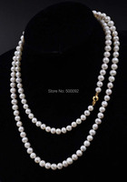 95cm long 7mm white freshwater pearl necklace for women Jewlery Gift