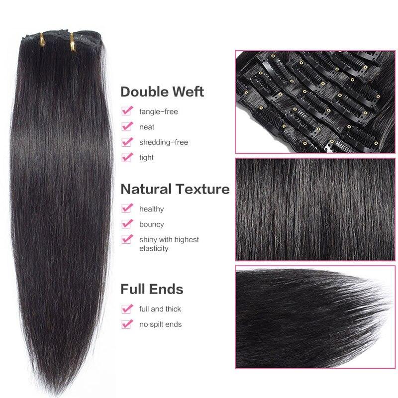 Lush Hair 22 120g 8pcs Straight Clip In Human Hair Extensions Black