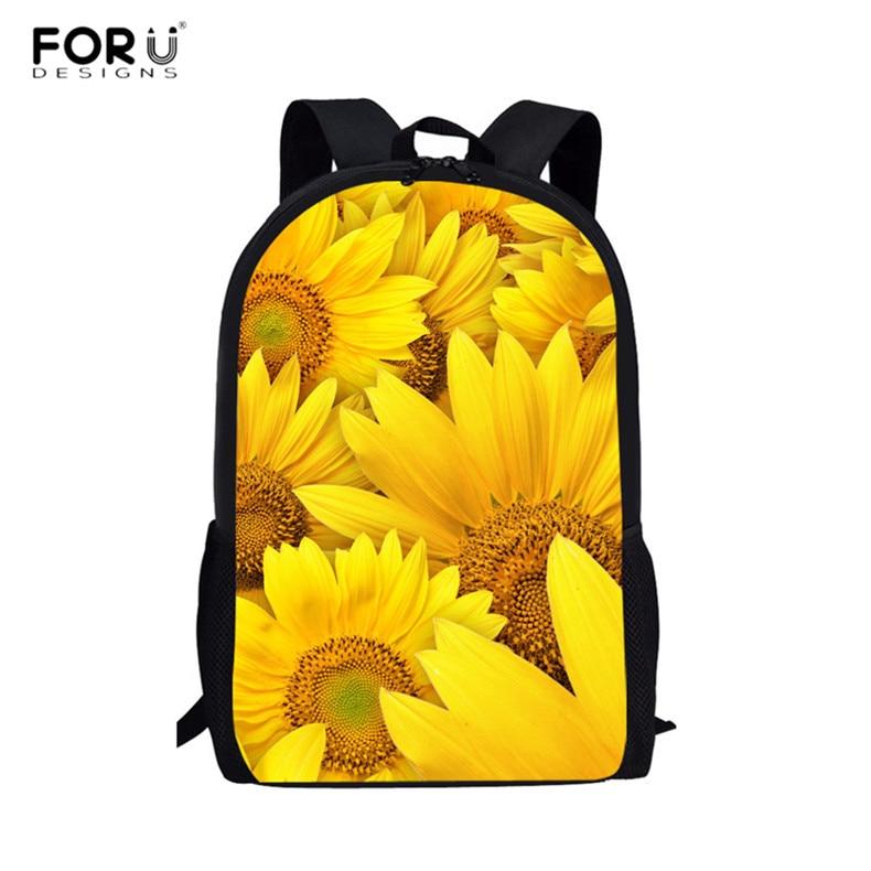 ForU-1 Backpack for Women Girls Shoulder Bag Schoolbag Travel Backpacks 3D Flowers Print Floral