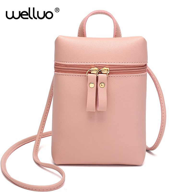 71b4d62c43ae US $6.98 40% OFF|Cell Phone Crossbody Bag Women Mini Leather Mobile  Messenger Bags Black Fashion Shoulder Bag Portable Strap Coin Purse  XA35B-in ...