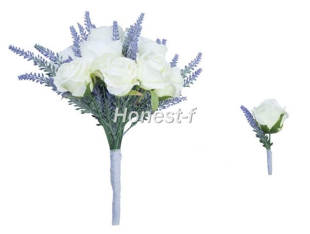 Original Hand Tie Artificial Flocked Lavender Rose Flower Bouquet