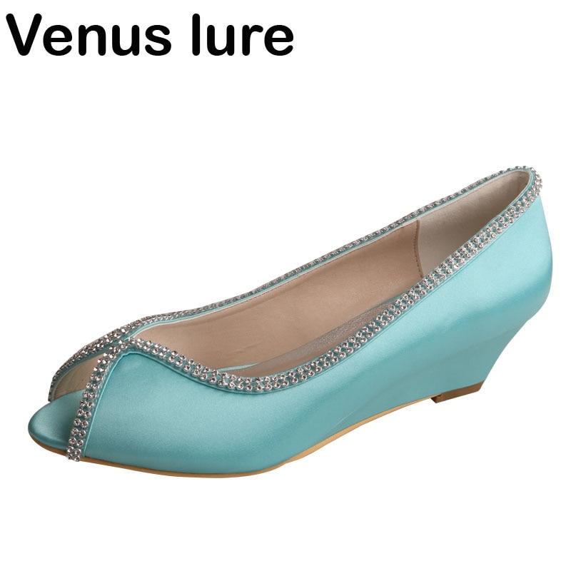 Elegant Wedge Shoes Small Heel Mint Green Wedding