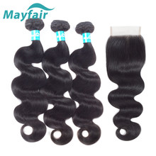 Mayfair Human Hair Bundles With Closure Body Wave 3 Bundels With Closure Brazilian Non-Remy Hair Weave Bundles With Closure 4x4(China)
