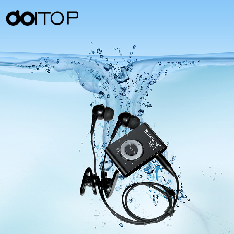 DOITOP IPX8 Waterproof MP3 Player Mini Walkman FM 8/4GB Sports Earphone Music Player For Swimming Diving Surfing Lossless Music