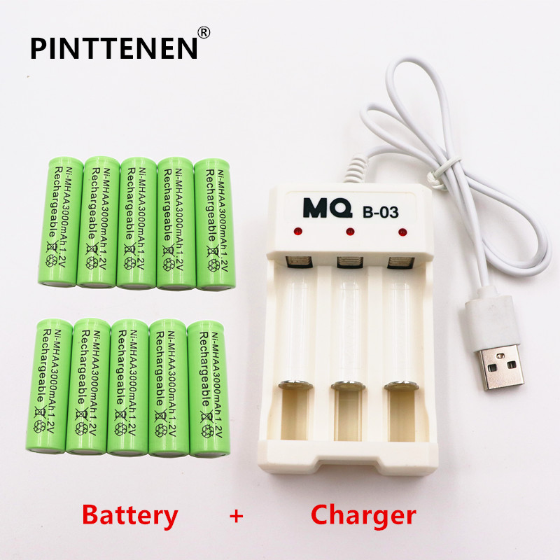 PINTTENEN AA Rechargeable Battery NiMH 1.2V 3000mAh+Universal Smart 3-Slot AA/AAA Rechargeable Battery Charger Adapter USB Plug