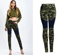 Sherhure 2018 High Waist Women Jeans Camouflage Print Jeans Women Vintage Denim Skinny Jeans Ninth Pants Women Pencil Jeans