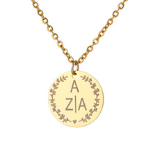 Personalized Engraved Gold Round Pendant Necklace Stainless Steel Custom Lettering Name LOGO Women Necklaces Jewelry Bridesmaid