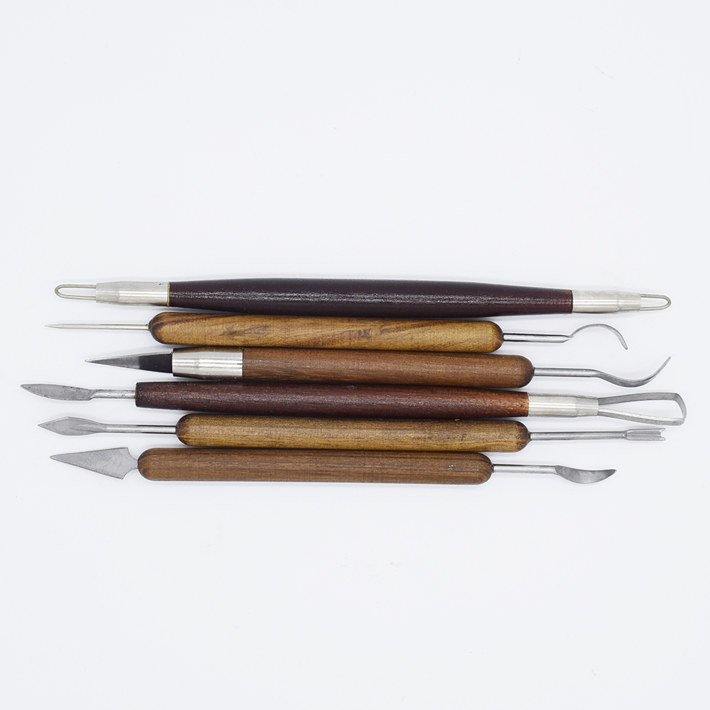 Top 6pcs/set Sharp Clay Sculpting Wax Carving Pottery Tools Shapers Wood Handle Pottery Clay Sculpture Carving Tools For Ceramic