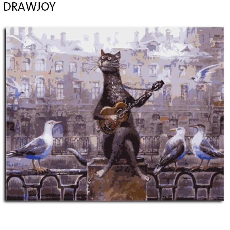 DRAWJOY New Framed Picture Painting By Numbers Of Cat DIY Ca