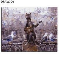 Drawjoy新しい額ピクチャー絵画による数字の猫diyキャンバス油絵家の装飾リビングルームの壁アートGX8138