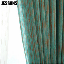 Double Chenille Curtains for Living Dining Room Bedroom Cloth Stripes Shading Curtains Bedroom Curtains E