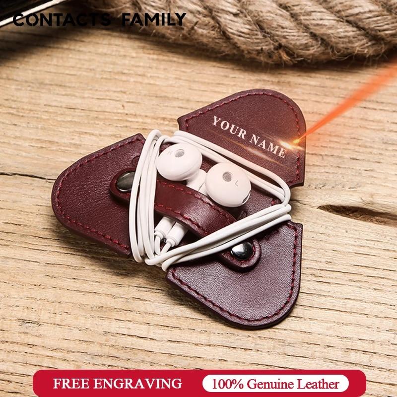 Earphone Organizer Cord Organizer Earphone Holder Leather wire holder Cord Holder