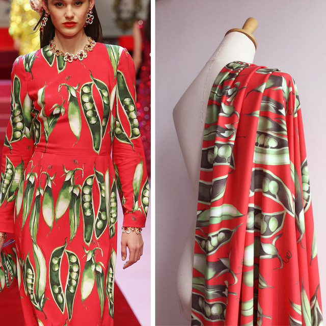 Europe and the United States big band pattern Spring and summer new women's pea pattern digital red printing fashion fabirc