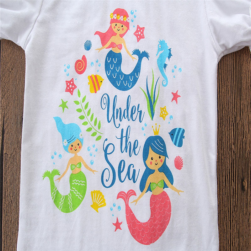 e5586c0ddb57 Little Mermaid Toddler Kids Girls Clothes Short Sleeve T shirt Tops+Tassel  Shorts Hot Pant Outfits Floral Clothing Sets 1 5Y-in Clothing Sets from  Mother ...
