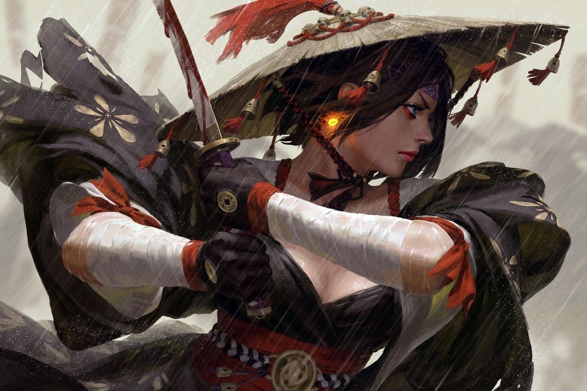 Samurai Girl Japanese Kimono Warrior Sword Artwork Living