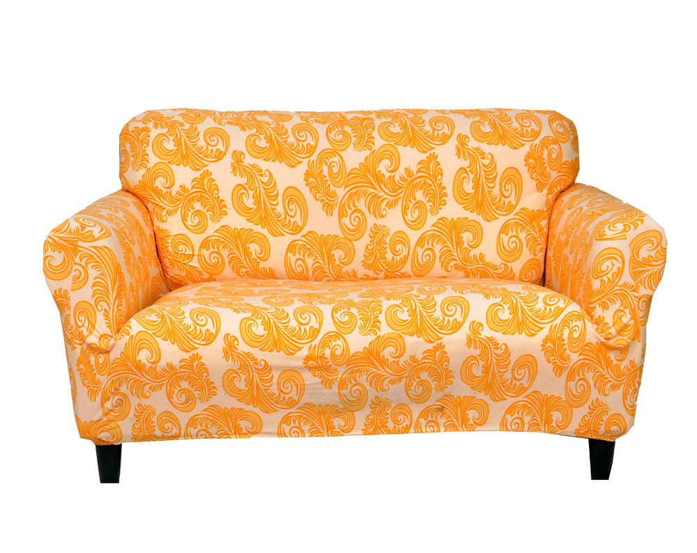 Drawing Room Decoration Printed Fabric 3 Seat Sofa Covers Polyester ...