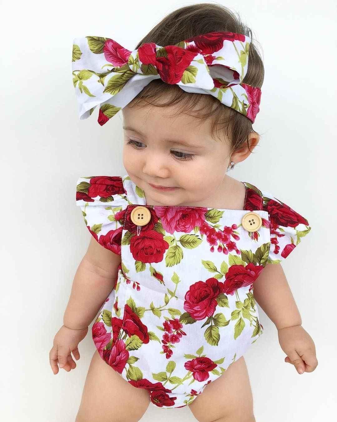 2018 nette Floral Body 2 stücke Baby Mädchen Kleidung Overall Romper + Stirnband 0-24M Alter Ifant Kleinkind neugeborenen Outfits Set Heißer Verkauf