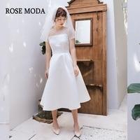 Rose Moda Short Sleeves Boho Wedding Dress 2019 Short Beach Wedding Dresses