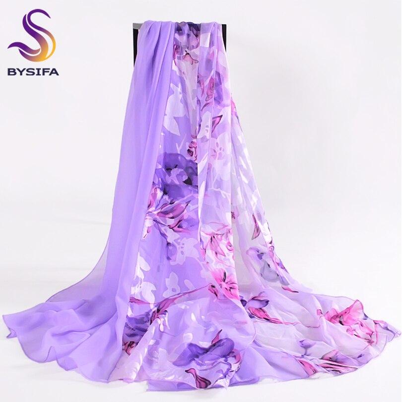 [BYSIFA] Purple Silk Scarf Cape Ladies Autumn Winter Chiffon Patchwork Floral Long Scarves Summer Women Beach Shawl 180*80cm