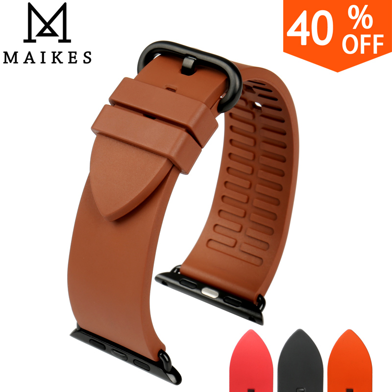 MAIKES New fashion brown fluororubber rubber watchbands for sports apple watch bands 42mm 38mm series 1 & 2 iwatch bracelet survival nylon bracelet brown