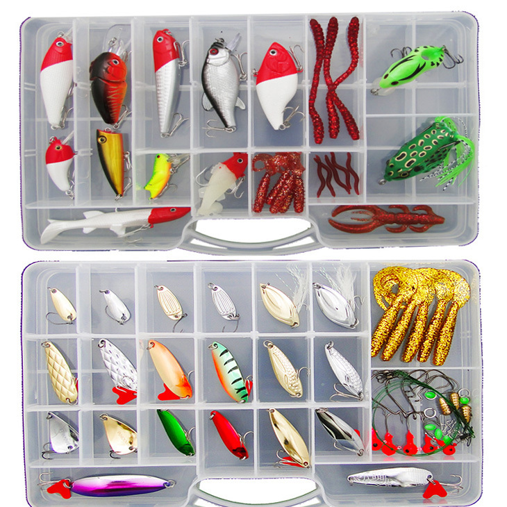Free shipping 81 pieces lure suit Lure soft bait lures fishing bait set freshwater bionic suit with sequins