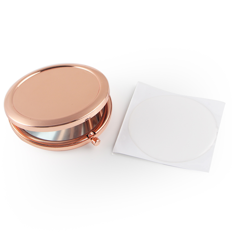 Round Mirror Compact Blank Plain rose gold Colour For DIY gift mirror (2)